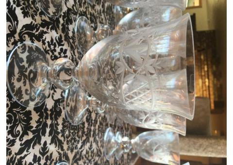Cut crystal and glass stemware